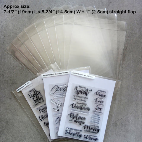 "50 x LARGE STAMP DIE STORAGE POCKETS 7-1/2x5-3/4+1"" 100 MICRON - STRAIGHT FLAP"