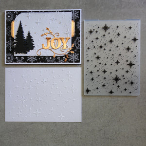 shopaperartz EMBOSSING FOLDER A2 CHRISTMAS STARS STARRY NIGHT CONFETTI CARDMAKING