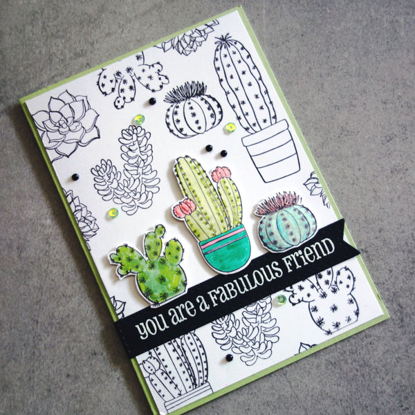 shopaperartz SUCCULENT TERRARIUM CACTII CLEAR STAMP SET 9 PC BIRTHDAY FRIEND THANK YOU CARDMAKING