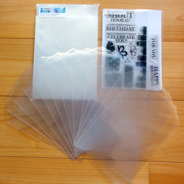 "100 x STAMP DIE STORAGE POCKETS CLEAR PLASTIC 7-3/8"" x 5-5/8"" 100 MICRON - LARGE"