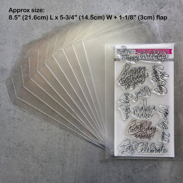 "40 x STAMP DIE STORAGE POCKETS 8-1/2"" x 5-3/4"" FITS 8"" X 4"" STAMP SETS 100 MICRON - EXTRA TALL"