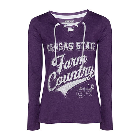 Kansas State Wildcats Women's IH Lace Up Long Sleeve T-Shirt - 2008575