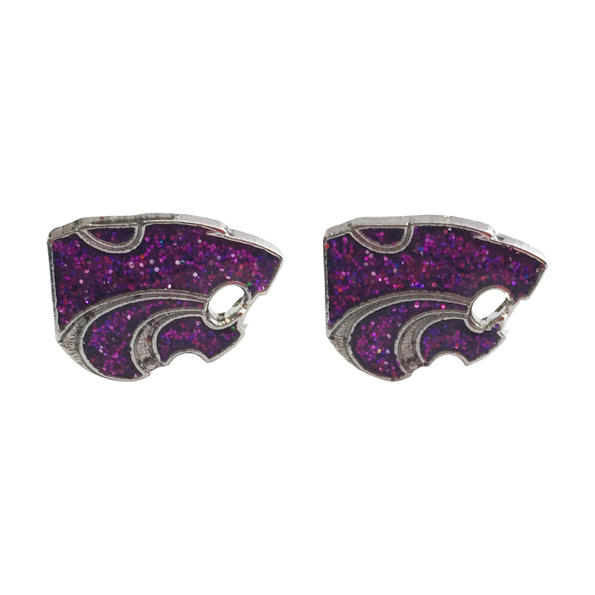 Kansas State Wildcats Powercat Purple Glitter Post Earrings - 2003816