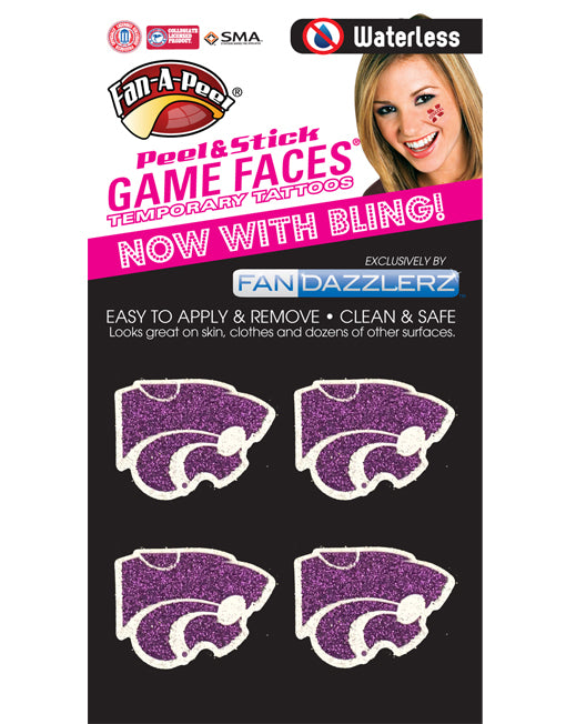 Kansas State Wildcats Waterless Fan Dazzlerz Face Tattoo - 2005020