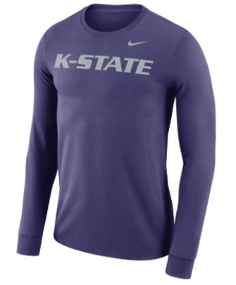 Kansas State Wildcats Nike Dri-FIT Cotton Long Sleeve Wordmark T-Shirt - 2006500