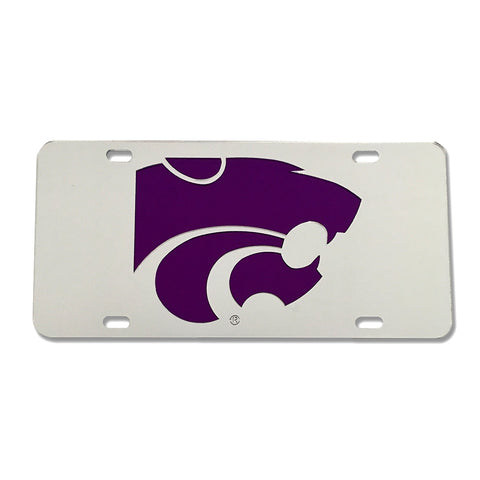 Kansas State Wildcats Mirror License Plate Silver with Purple Powercat - 2007095