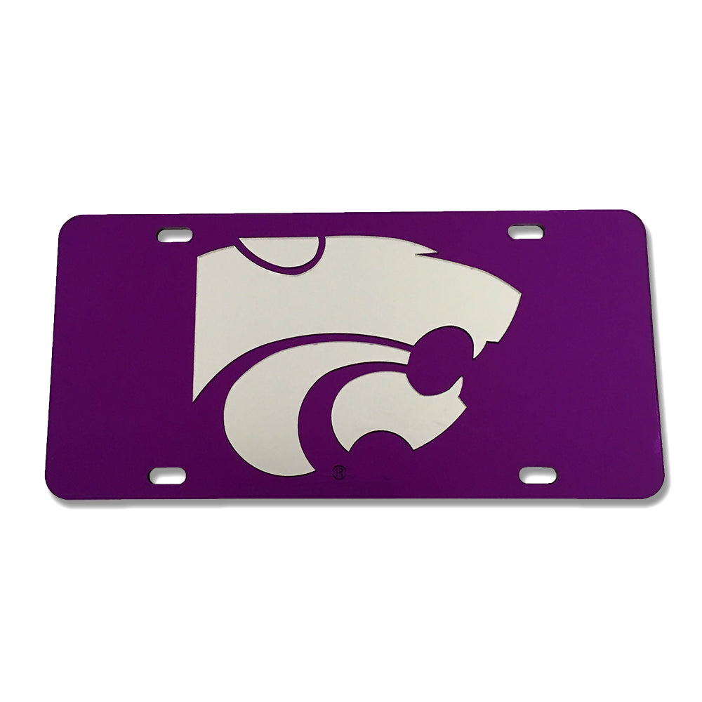 Kansas State Wildcats Mirror License Plate Purple with Silver Powercat - 2007097