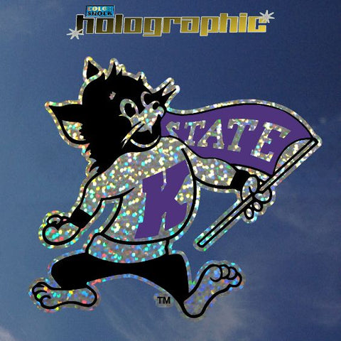 Kansas State Wildcats Willie the Wildcat Macot  Holographic Car Decal - 2005497