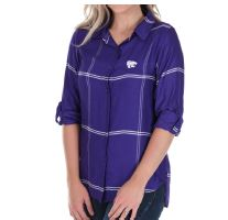 Kansas State Wildcats UG Boyfriend Plaid Satin Top - 2006573