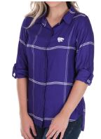 Kansas State Wildcats UG Boyfriend Plaid Satin Top Plus Size - 2006574