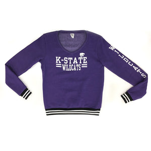 Kansas State Wildcats Blue 84 Emily Varsity Fleece V-Neck Sweatshirt - 2006739