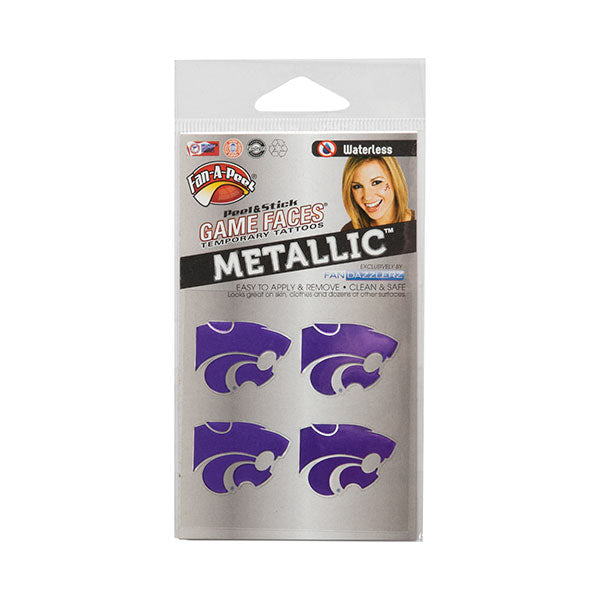 Kansas State Wildcats Purple Metallic Waterless Tattoos - 2007070