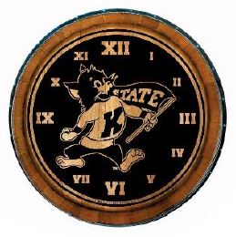 Kansas State Wildcats Timeless Etchings Willie Mascot Wine Barrel Wood Clock - 2007346