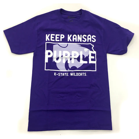 Kansas State Wildcats Champion Keep Kansas Purple Cotton T-Shirt - 2007385