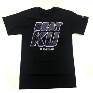 Kansas State Wildcats Champion Beat KU Black Cotton T-Shirt - 2007386