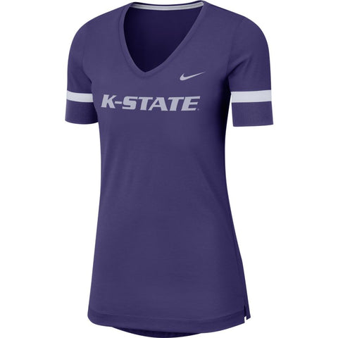 Kansas State Wildcats Nike Women's Dry Short Sleeve Fan V Tunic - 2007515