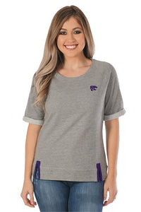 Kansas State Wildcats Women's Gray Roll-Up French Terry Top - 2007636