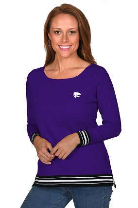 Kansas State Wildcats Women's Striped French Terry Pullover Top - 2007638