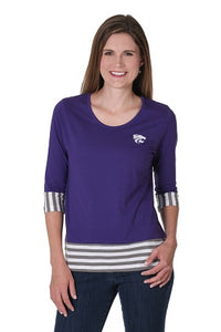 Kansas State Wildcats Women's Striped Panel Cotton Top - 2007639