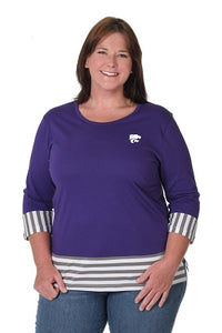 Kansas State Wildcats Striped Panel Cotton Plus Size Top - 2007640