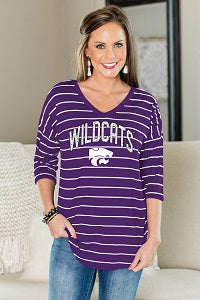 Kansas State Wildcats Women's Fall In Line Striped V-Neck Half Sleeve Top - 2007652