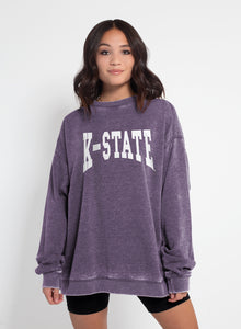 Kansas State Wildcats Campus Crew Burnout Wash Fleece Sweatshirt - 2007693