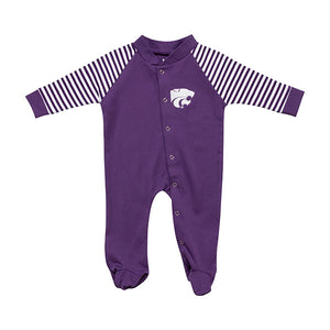 Kansas State Wildcats Infant Stripe Footed Snap Cotton Romper - 2007760