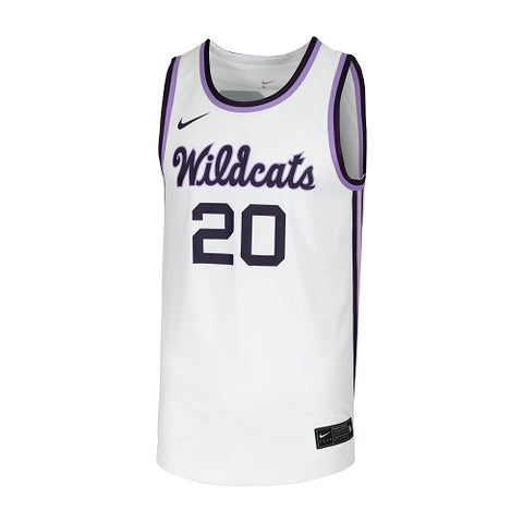 K-State Nike Wildcats Script Throwback White Replica Basketball Jersey - 2007951