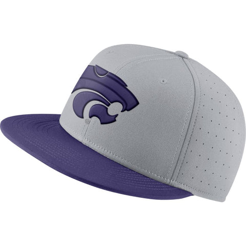 Kansas State Wildcats Nike Grey Aero True Baseball Fitted Hat - 2008322