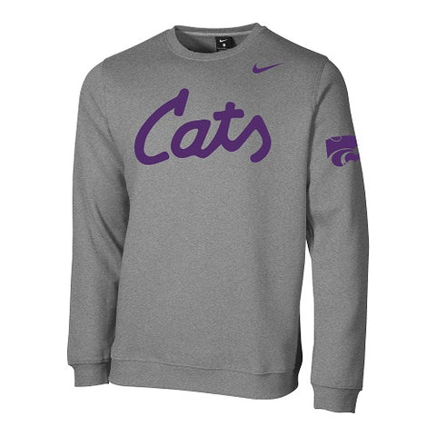 Kansas State Wildcats Nike Cats Club Fleece Crew Sweatshirt - 2008462