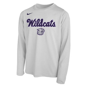 K-State Nike Wildcats Script Youth White Legend Long Sleeve T-Shirt - 2008546