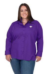 Kansas State Wildcats Women's Plus Size Oxford Dress Shirt - 2008811