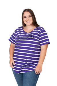 Kansas State Wildcats Women's Plus Size Striped Top - 2008816