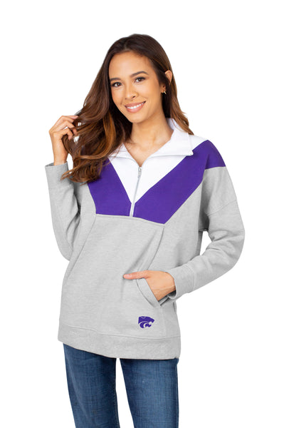 Kansas State Wildcats Women's Colorblock 1/4 Zip Top - 2008819