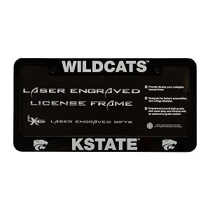 Kansas State Wildcats Black Laser Engraved License Plate Frame - 2008835