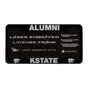 Kansas State Wildcats Alumni Black Laser Engraved License Plate Frame - 2008836