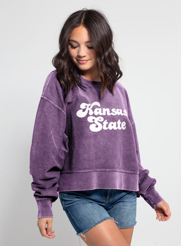 Kansas State Wildcats Women's Corded Boxy Pullover - 2008848