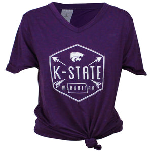 Kansas State Wildcats Women's Arrow Front Tie T-Shirt - 2008883
