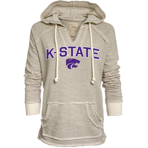 Kansas State Wildcats Women's Striped French Terry V-Neck Hoodie - 2008941