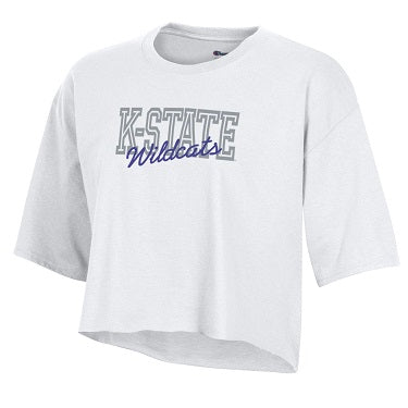 Kansas State Wildcats Champion Women's Boyfriend Crop T-Shirt - 2008999