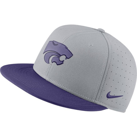 Kansas State Wildcats Nike Grey Aero True Fitted Baseball Cap - 2009258
