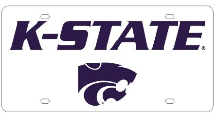 Kansas State Wildcats White Wordmark Acrylic License Plate - 2010190
