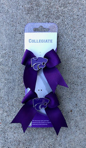Kansas State Wildcats Mini Ribbon Bow Clips - 2007858