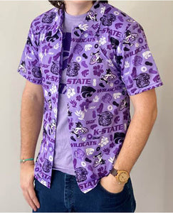Kansas State Wildcats Wabash Collection Lavender Hawaiian Shirt - 2008645