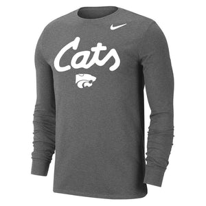 Kansas State Wildcats Nike Cats Grey & White Long Sleeve T-Shirt - 2009548