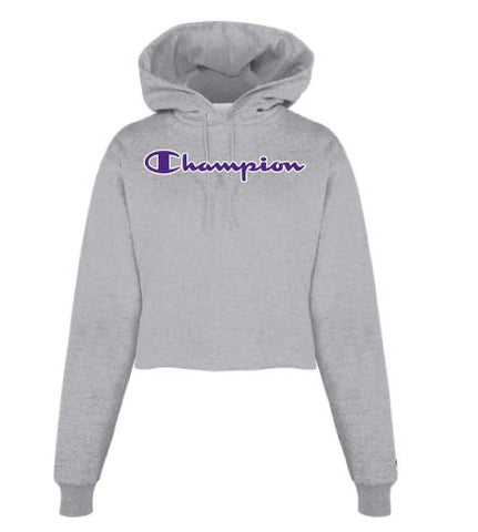Ladies Champion Script Crop Hoodie - 2009585