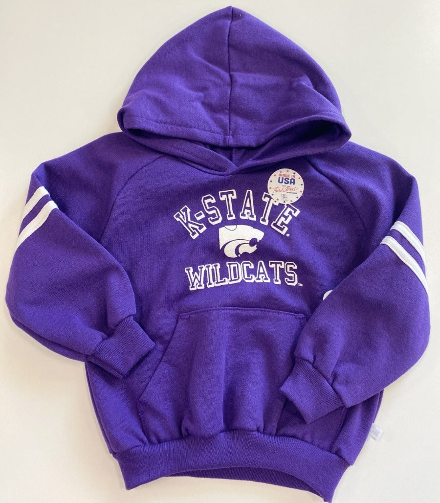 Kansas State Wildcats Toddler Raglan Fleece Pullover Hoodie with Sleeve Stripes - 2007807