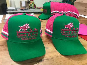 Trucker cap green and pink