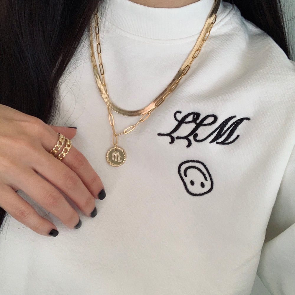 Paper clip zodiac necklace
