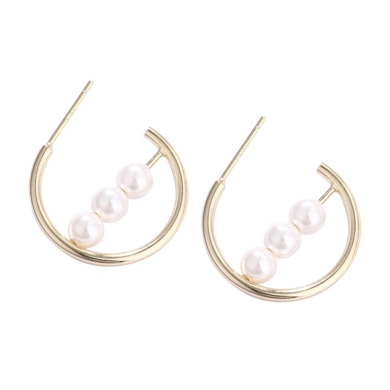 Three Pearl Hoops